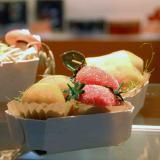 Frutas de mazapán en barquetas de dulces